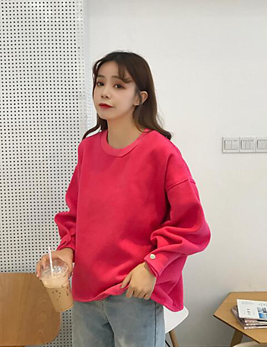Damen Pullover Lässig/Alltäglich Solide Baumwolle