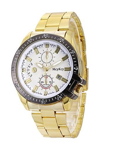 Herrn Modeuhr Kleideruhr Armbanduhr Chinesisch Quartz Kalender Großes Ziffernblatt Legierungmetall Band Luxus Freizeit Gold Rotgold