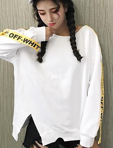 Damen Einfach Pullover Buchstabe Baumwolle
