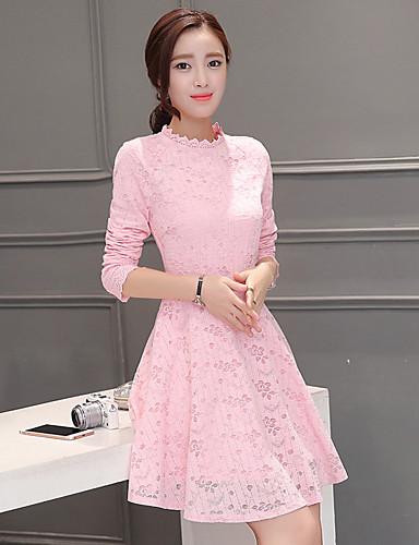 Damskie Wyrafinowany styl Spódnica Sukienka - Jendolity kolor, Koronka Mini