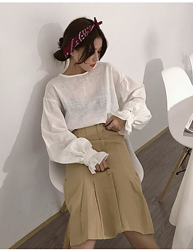 Damen Einfach Lässig/Alltäglich Midi Röcke einfarbig Herbst