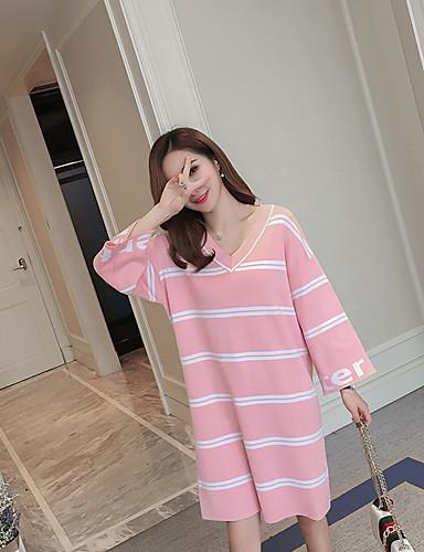 Damen Strickware Kleid-Lässig/Alltäglich Gestreift Einfarbig V-Ausschnitt Übers Knie Langarm Baumwolle Acryl Mittlere Hüfthöhe