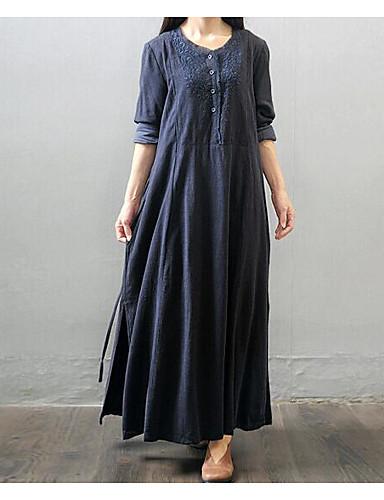 Damen Swing Kleid-Alltag Solide Rundhalsausschnitt Maxi Langärmelige Polyester Herbst Mittlere Hüfthöhe strenchy Undurchsichtig