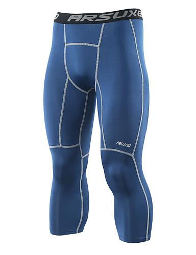 ราคาถูก เสื้อ, กางเกงขายาวและกางกางขาสั้นสำหรับใส่วิ่ง-Arsuxeo สำหรับผู้ชาย กางเกงรัดรูป useless กีฬา สีพื้น สแปนเด็กซ์ 3/4 ถุงน่อง เลกกิ้ง วิ่ง การออกกำลังกาย ยิมออกกำลังกาย ขนาดพิเศษ ชุดทำงาน Moisture Wicking ตัดเย็บสามมิติ แห้งเร็ว นุ่ม ความยืดหยุ่นสูง