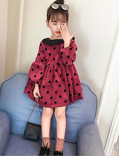 Mädchen Kleid Punkt Baumwolle Polyester