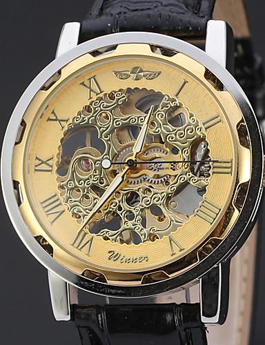 WINNER Pánské Náramkové hodinky mechanické hodinky Automatické natahování  Kůže Černá 30 m S dutým gravírováním Analogové Luxus Klasické Na běžné  nošení ... 87c2d8d7323
