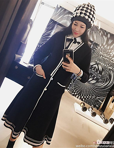 Damen Lässig / Alltäglich / Arbeit Strickware Kleid Solide / Gestreift Knielang V-Ausschnitt Hohe Taillenlinie / Herbst / Winter