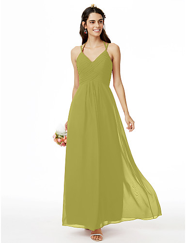 3991ba77cc7d Ίσια Γραμμή Λεπτές Τιράντες Μέχρι τον αστράγαλο Σιφόν Φόρεμα Παρανύμφων με  Χιαστί   Πλισέ με LAN TING BRIDE®