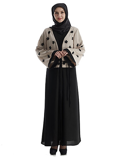 Damen Kaftan Kleid-Party Boho Punkt V-Ausschnitt Maxi Langarm Polyester Herbst Mittlere Hüfthöhe Unelastisch Mittel