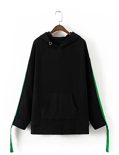 Damen Kapuzenshirt Ausgehen Lässig/Alltäglich Niedlich Aktiv Einfarbig Mikro-elastisch Baumwolle Andere Langarm