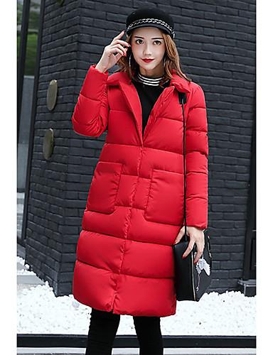 Damen Gefüttert Mantel Einfach Lässig/Alltäglich Solide-Baumwolle Langarm