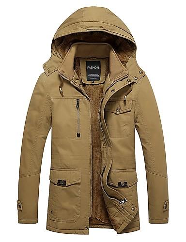 Herren Solide Einfach Ausgehen Lässig/Alltäglich Jacke Winter Herbst Langarm Standard Baumwolle Polyester