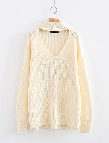 Damen Standard Pullover-Lässig/Alltäglich Ausgehen Solide Halter Langarm Baumwolle Andere Dick Mittel Mikro-elastisch