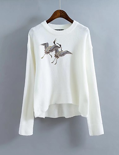 Damen Standard Pullover-Ausgehen Lässig/Alltäglich Solide Druck Rundhalsausschnitt Langarm Baumwolle Dünn Mikro-elastisch