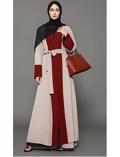 Damen Etuikleid Kleid-Party Boho Solide Einfarbig V-Ausschnitt Maxi Langarm Polyester Herbst Tiefe Hüfthöhe Unelastisch Mittel