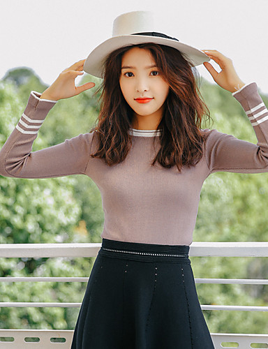 Damen Freizeit Baumwolle Langarm Pullover - Solide / Herbst
