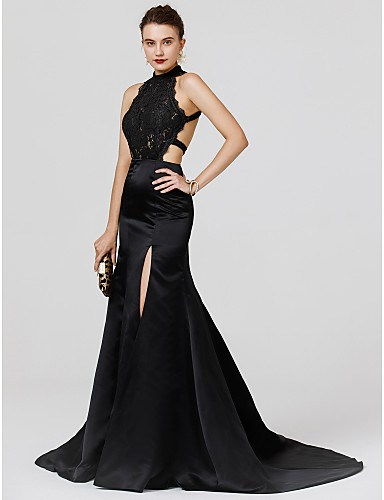 46e44bd745b Mermaid   Trumpet High Neck Court Train Chiffon   Lace Cocktail Party   Formal  Evening Dress with Split Front by TS Couture®