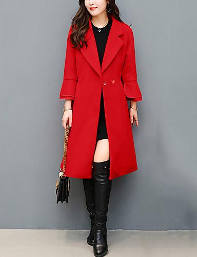 Damen Solide Einfach Ausgehen Übergröße Mantel Herbst Winter Standard Polyester