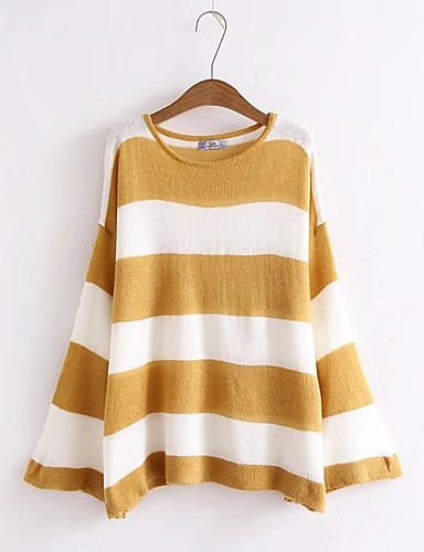 Damen Standard Pullover-Ausgehen Lässig/Alltäglich Gestreift Rundhalsausschnitt Langarm Acryl Dünn Mittel Mikro-elastisch