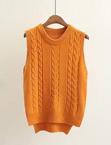 Damen Standard Weste-Lässig/Alltäglich Ausgehen Solide Rundhalsausschnitt Ärmellos Baumwolle Andere Mittel Dünn Mikro-elastisch