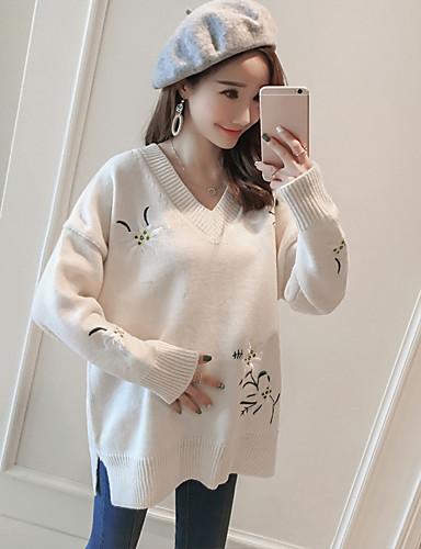 Damen Standard Pullover-Lässig/Alltäglich Druck V-Ausschnitt Langarm Acryl Dick Dehnbar
