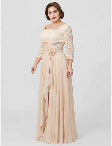 Sheath / Column Square Neck Floor Length Chiffon Metallic Lace Mother of the Bride Dress with Sash / Ribbon Flower by LAN TING BRIDE®