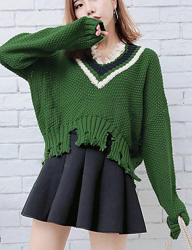 Damen Kurz Pullover-Lässig/Alltäglich Solide V-Ausschnitt Langarm Acryl Herbst Winter Mittel strenchy