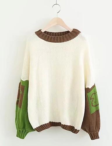 Damen Standard Pullover-Ausgehen Lässig/Alltäglich Solide Einfarbig Rundhalsausschnitt Langarm Baumwolle Dünn Mikro-elastisch