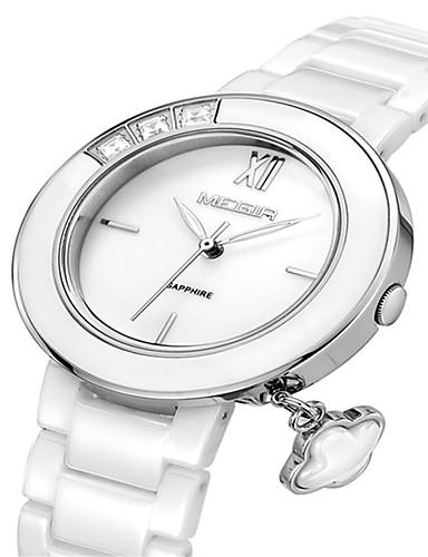 MEGIR Damskie Zegarek na nadgarstek Kwarc Ceramika Pasmo Analog Casual Moda Elegancja Srebrny Różowe złoto