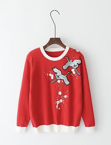 Damen Standard Pullover-Lässig/Alltäglich Ausgehen Einfarbig Rundhalsausschnitt Langarm Andere Dick Mittel Mikro-elastisch