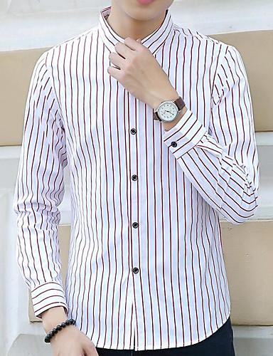 Koszula Męskie Prążki Bawełna