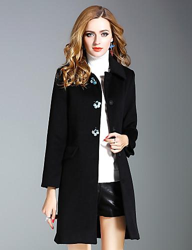 Damen Solide Street Schick Alltag Ausgehen Mantel Herbst Lang Wolle Polyester