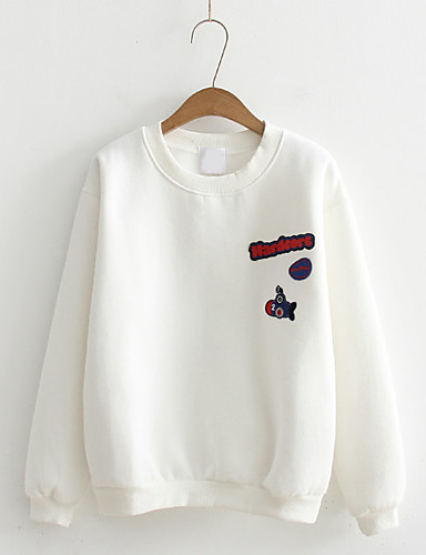Damen Pullover Lässig/Alltäglich Einfach Buchstabe Mikro-elastisch Baumwolle Langarm