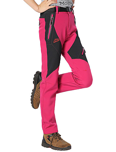 cheap Hiking Trousers & Shorts-Women's Hiking Pants Softshell Pants Outdoor Waterproof Thermal / Warm Windproof Breathable Autumn / Fall Spring Winter Softshell Pants / Trousers Bottoms Camping / Hiking Hunting Climbing Purple Red