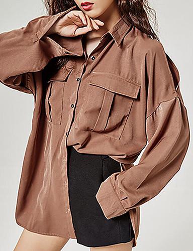 Damen Solide Sexy Lässig/Alltäglich Hemd,Hemdkragen Langarm Polyester Mittel