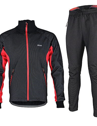 cheap Cycling Clothing-Arsuxeo Men's Long Sleeve Cycling Jacket with Pants Black / Red Black / Green Black / Blue Solid Color Bike Jacket Clothing Suit Thermal / Warm Windproof Fleece Lining Breathable Anatomic Design