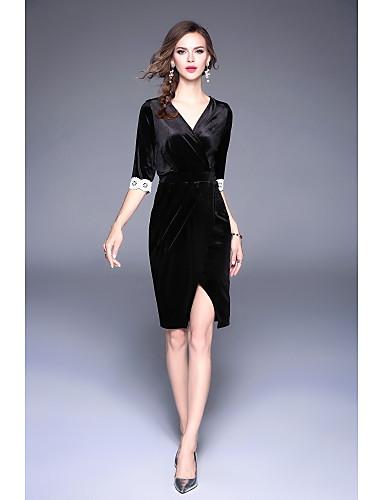 803015bdd871 Women s Velvet Daily   Going out Sheath   Swing Dress - Floral V Neck Black  M L XL