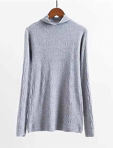 Damen Standard Pullover-Alltag Solide Rollkragen Langarm Baumwolle Herbst Dick Mikro-elastisch