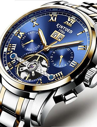 Bărbați ceas mecanic Swiss Mecanism automat Negru / Argint 30 m Rezistent la Apă Calendar Cronograf Lux Casual Modă - Albastru Negru / Albastru Alb / Albastru / Oțel inoxidabil / Gravură scobită