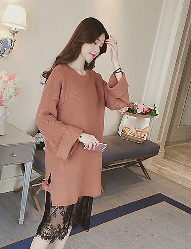 Damen Strickware Kleid-Lässig/Alltäglich Solide Rundhalsausschnitt Midi Langarm Acryl Mittlere Hüfthöhe Dehnbar Dick
