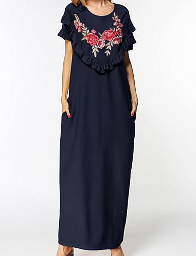 Damen Ausgehen Swing Maxi Kleid Punkt Geometrisch Einfarbig Rundhalsausschnitt Kurze Ärmel Herbst