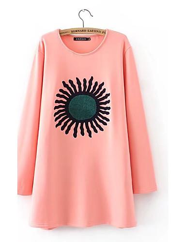 Damen Pullover Lässig/Alltäglich Ausgehen Niedlich Aktiv Solide Druck Mikro-elastisch Baumwolle Andere
