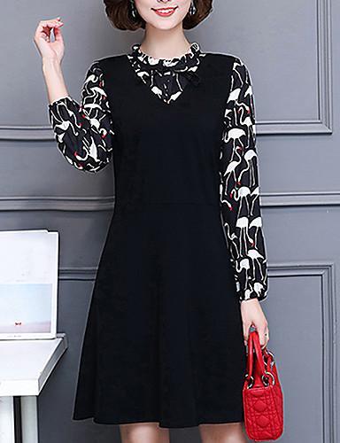 Damen A-Linie Kleid-Lässig/Alltäglich Einfach Druck Ständer Knielang Langarm Polyester Mittlere Hüfthöhe Mikro-elastisch Mittel