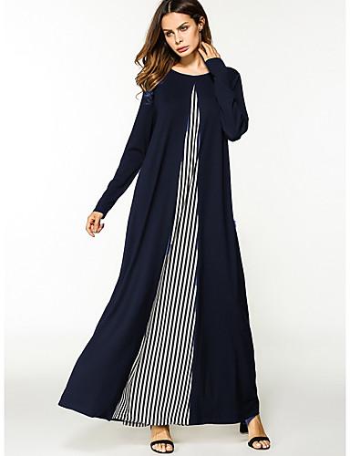 Damen Tunika Kleid-Lässig/Alltäglich Einfarbig Rundhalsausschnitt Maxi Langärmelige Polyester Alle Jahreszeiten Mittlere Hüfthöhe