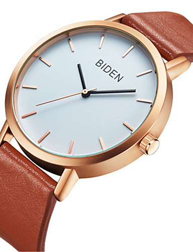 8dc75fc53116 BIDEN Mujer Reloj de Pulsera Cuarzo Cuero Auténtico Material de Correa  Negro   Marrón Reloj Casual