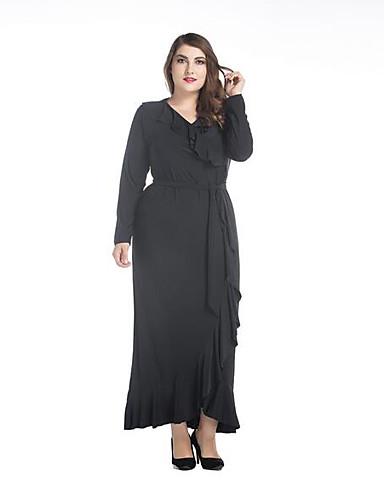 Damen Hülle Kleid-Alltag Solide V-Ausschnitt Maxi Langarm 100% Polyester Herbst Mittlere Hüfthöhe Mikro-elastisch Undurchsichtig