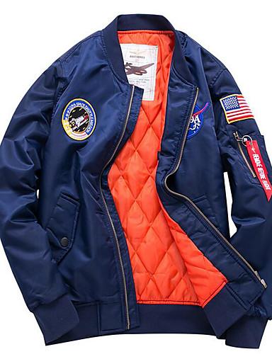 d6ff69216c8 Men's Daily / Going out Fall / Winter Regular Jacket, National Flag Stand  Long Sleeve Polyester Print Black / Navy Blue / Army Green 4XL / XXXXXL /  XXXXXXL