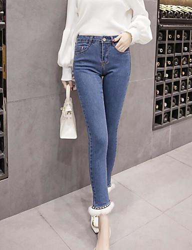 Damen Freizeit Mikro-elastisch Eng Jeans Hose Solide