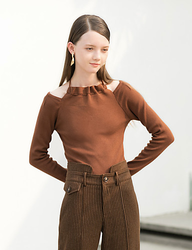 Damen Standard Pullover-Festtage Lässig/Alltäglich Einfach Retro Solide Halter Langarm Baumwolle Frühling/Herbst Mittel Dehnbar