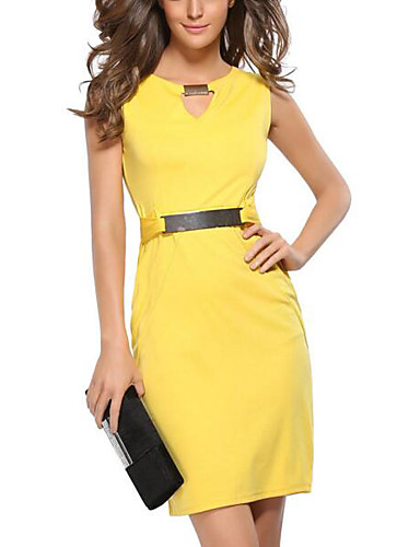 3446d7b96b2bb Women s Plus Size Going out Slim Bodycon Dress - Solid Colored V Neck Black  Red Yellow XL XXL XXXL